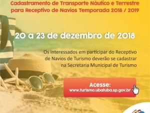 Cadastramento de Transporte Náutico e Terrestre para Receptivo de Navios Temporada 2018/2019