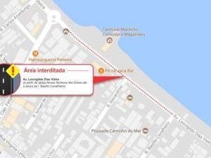 Alerta sobre interdição parcial de via em datas de receptivo dos Cruzeiros Marítimos