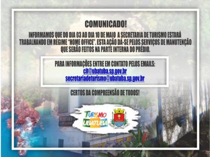 Secretaria de Turismo em Regime de Home Office do dia 03 ao dia 10 de maio